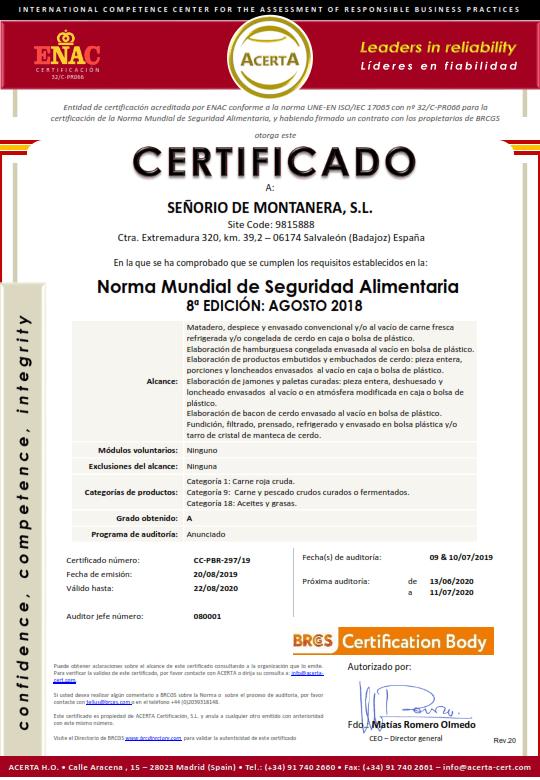 certificado-BRC-señorio-montanera