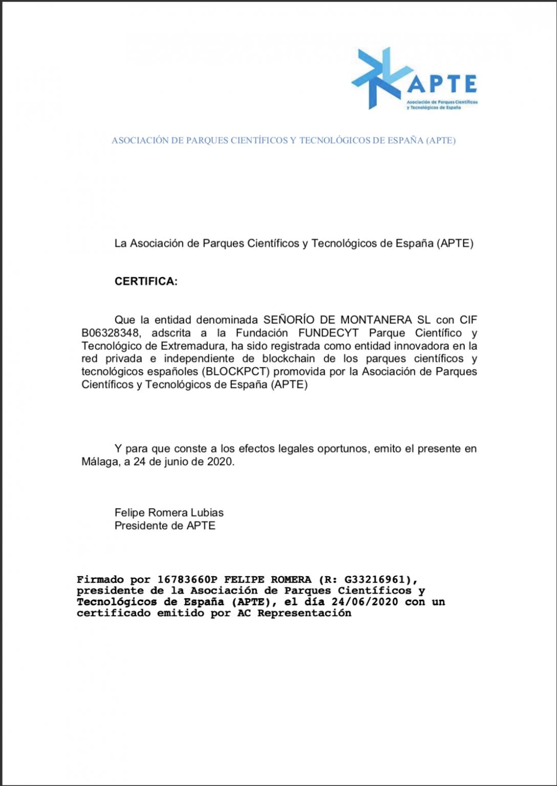 certificado APTE senorio de montanera