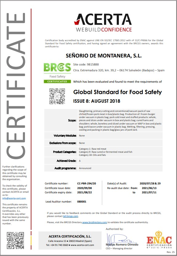 BRC certificado 2020 senorio de montanera