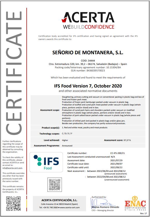 Certificado IFS senorio de montanera_2021
